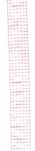 Lint 25 mm roze wit geblokt per meter