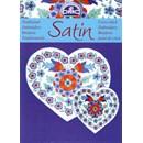 Satin - bloemen in het blauw met rood (op=op)