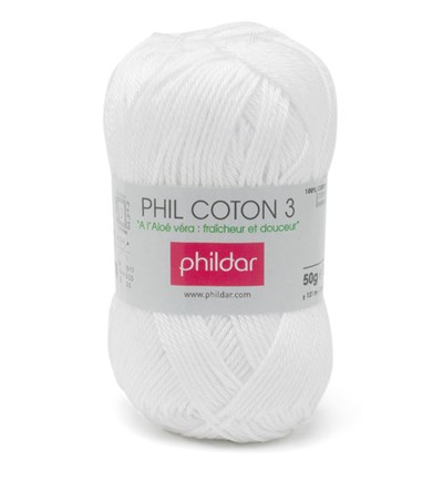 Phildar Phil coton 3 Blanc 1225 - 10