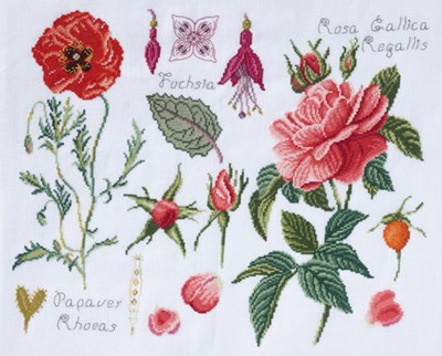 DMC No 2 14561a fleur & botanique - roses et coquelicot op=op