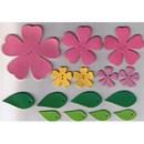 Leren bloemen roze - geel (op=op)