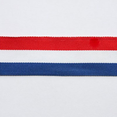 Lint 15 mm rood wit blauw per meter