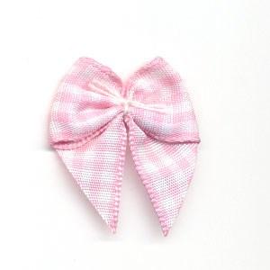 Strikje geruit roze - wit 10 stuks