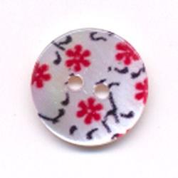Knoop 16 mm blad met bloem - 259624