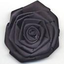 bloem satijn 60 mm - zwart (1 stuks)(op=op)
