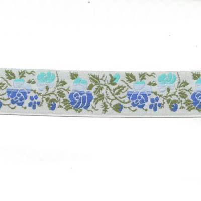 Band rozen 0009 wit blauw 24 mm per meter