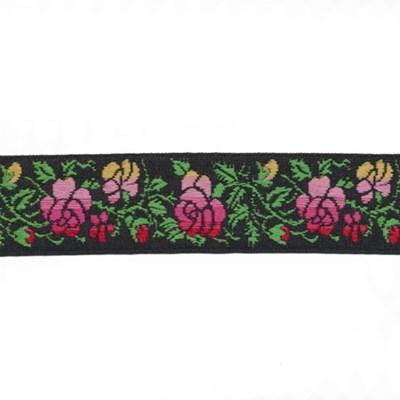 Band rozen 0001 zwart roze 24 mm per meter