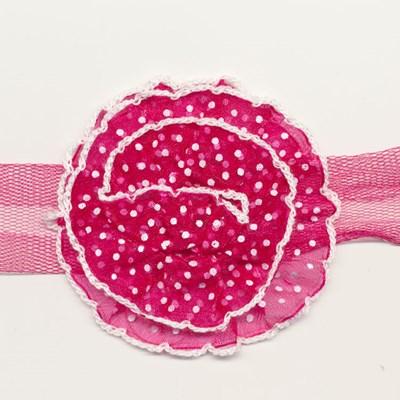 Band bloem pink met stip 75 mm per bloem