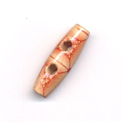 Knoop 30 mm houtje touwtje licht hout met rode lijnen