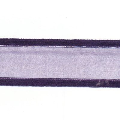 Lint 40 mm voile met fluweel paars 50 cm op=op