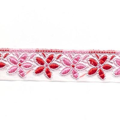 Lint 25 mm voile met bloemen roze rood 50 cm op=op