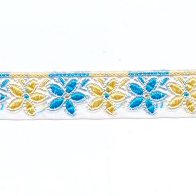 Lint 25 mm voile met bloemen geel blauw 50 cm op=op