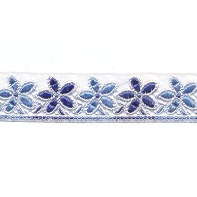 Lint 25 mm voile met bloemen licht en donker blauw 50 cm op=op