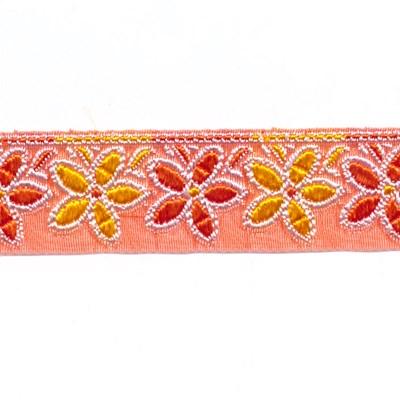 Lint 25 mm voile oranje met bloemen oranje geel 50 cm op=op
