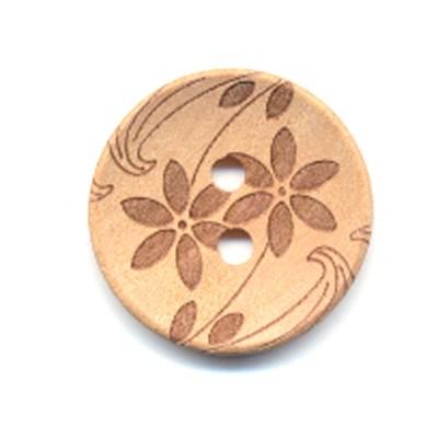Knoop 22 mm hout met bloem - 255236 op=op