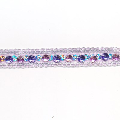 Band 10 mm strass roze paars per 50 cm