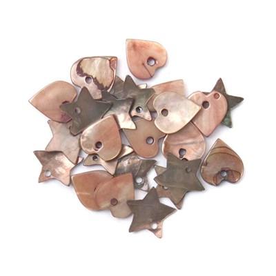 Hangers hart en ster ca 1 cm 88243 bruin - schelp 24 stuks