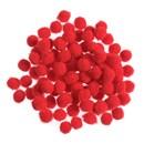 Pompon 7 mm rood (ca 100 stuks) (op=op)
