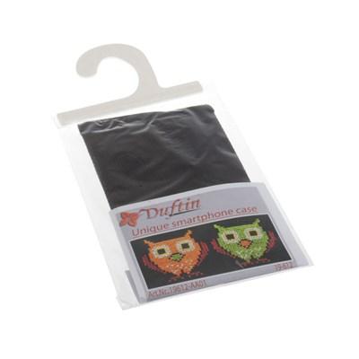 Borduurpakket telefoonhoesje uiltjes zwart 13 a 8 cm