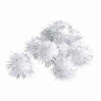 Pompon 25 mm glitter zilver (8 stuks)