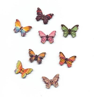 Knoop 25 mm vlinder gekartelde vleugels hout