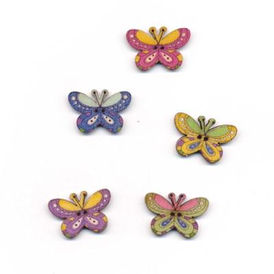 Knoop 25 mm vlinder ronde vleugels hout