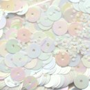 Pailletten 6 mm - 4 parel wit