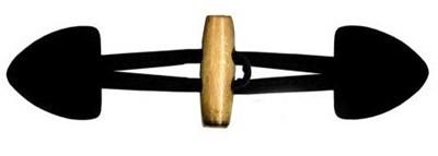 Knoop 40 mm houtje touwtje licht hout - 000 zwart