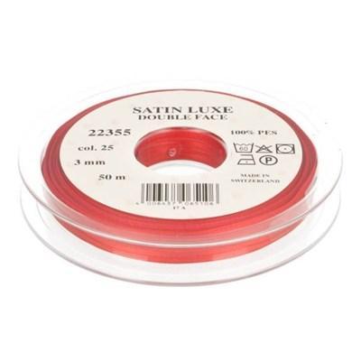 Lint satijn 3 mm rood per meter