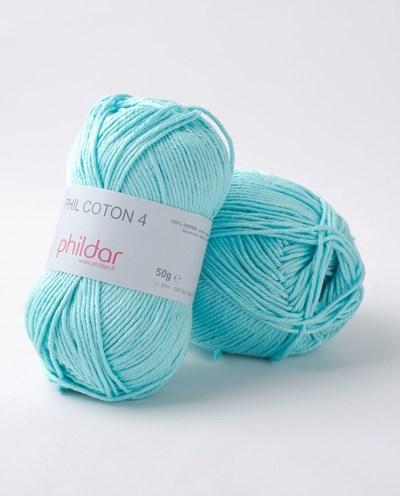 Phildar Phil Coton 4 Cyan 0101 - blauw aqua