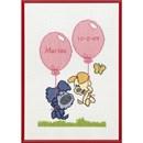 Woezel en Pip geboortetegel (met roze en blauw garen)