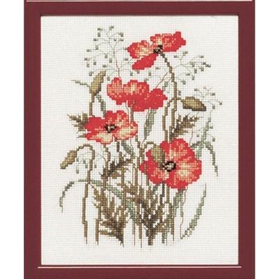 Borduurpakket bloemen klaprozen 15 a 20 cm 215363