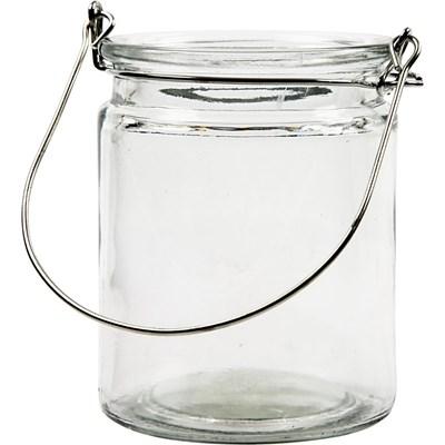 Lantaarn glas hoogte 100 mm, doorsnee 76 mm 3 stuks