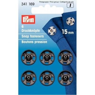 Drukknoop 15 mm zwart 6 stuks