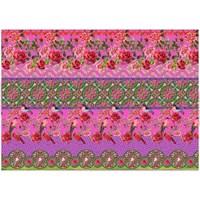 Stenzo tricotstof rozen met vogel - fel roze (50 cm)