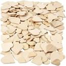 Mozaiek hartjes hout - assortiment 18-30 mm (dikte 2 mm). Circa 60 stuks.