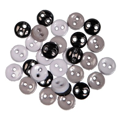 knoop 6 mm zwart grijs mix op=op