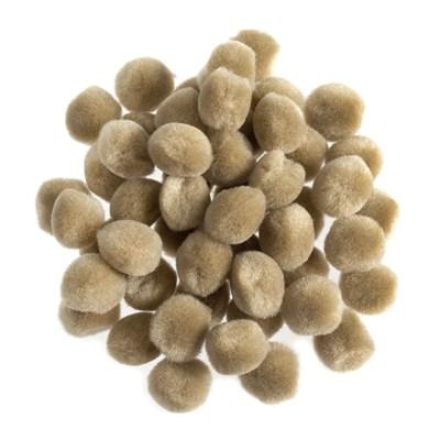 Pompon 13 mm beige ca 80 stuks