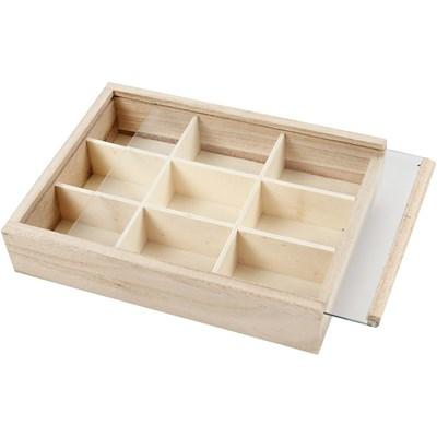 Opbergsysteem hout 9 vaks 17 a 13 a 3,5 cm