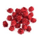 Pompon 13 mm metallic red (ca 100 stuks)