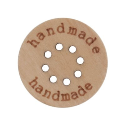 Knoop 15 mm hout handmade en 8 gaatjes