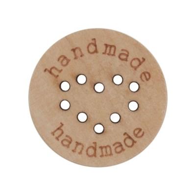 Knoop 23 mm hout handmade en hart in gaatjes