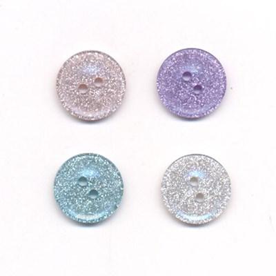 Knoop 15 mm rose glitter