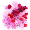Pompon 10, 15, 20, 25, 40 mm rose (ca 50 stuks)