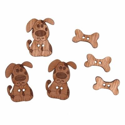knoop 25 - 30 mm hond met bot hout 3x2