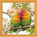 Borduurpakket Love Birds - Parkiet