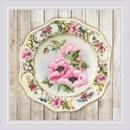 Borduurpakket plate with pink poppies