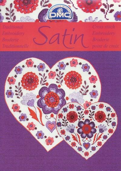 Satin - bloemen in het paars met rood op=op