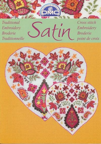 Satin - bloemen met blad - geel op=op