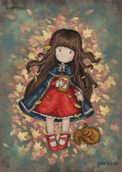 Borduurpakket Gorjuss - Autumn leaves op=op